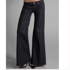 Hudson Wide Leg Flare Trouser Dark Wash Jeans Mid